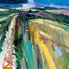 Beautiful abstract landscape painting in oil. Amazing bright vivid colours and interesting perspective. I love the sketchy, rough brush strokes which give life and energy to the painting. Wild Summer Walk Oil on Board Estate of Peter Iden # 2 Pastel Landscape, Abstract Landscape Painting, Landscape Drawings, Seascape Paintings, Landscape Art, Landscape Paintings, Oil Paintings, Art Drawings, Abstract Art