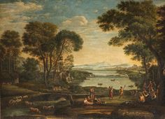 Landscape with the Marriage of Isaac and Rebecca  {after Claude Lorrain}