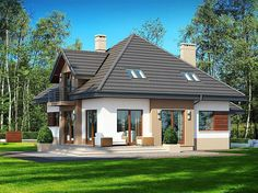 Zdjęcie projektu Opałek II N Home Building Design, Building A House, House Outside Design, House Design, Brick Siding, Modern Bungalow House, Micro House, Exterior House Colors, Facade House