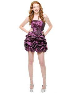 Taffeta Strapless Applique Pick Up Skirt Mini Prom Dress