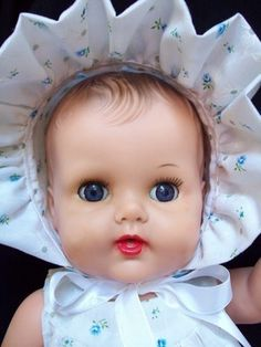 Hello and welcome to my store! Today we have this vintage doll by the Sun Rubber Company. She is the 18 Constance Bannister baby doll. She was in super bad shape when I found her, so I cleaned her u