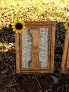 Rustic Wedding Table Numbers, but the sunflower picture frame easily could be used as a sign of any kind at a wedding shower.