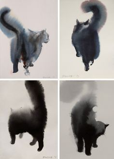 itscolossal:Watercolor cats by Endre Penovác