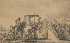 D'APRÈS JEAN-MICHEL MOREAU, DIT MOREAU LE JEUNE (PARIS 1741-1814) Marie-Antoinette, sortie de sa calèche et entourée de son cortège, consolant une paysane  avec signature et datation 'J.M. Moreau L [...] 1773' (en bas à droite) traces de sanguine, plume et encre brune, lavis gris 12 x 19,5 cm. (4 ¾ x 7 5/8 in.)