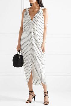 HATCH   Amira draped striped crepe de chine dress   NET-A-PORTER.COM