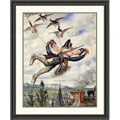 "Global Gallery 'Illustrations for the Adventures of Baron Munchausen' by Alphonse Adolf Bichard Framed Painting Print Size: 46"" H x 38.08"" W x 1.5"" D"