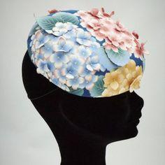 Anna Pill Box Hat - Dimensional Hydrangea print pill box hat