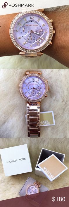 Brand New Michael Kors Women's Watch MK6169 100% Authentic and Brand New in the original Michael Kors box. Fast shipping, shipped same business day.  Brand Name: Michael Kors Model number: MK6169 Item Shape: Round Gender: Women's Dial window material type: Mineral Case material: Stainless steel Case color: Rose Gold Case diameter: 39 millimeters Case Thickness: 12 millimeters Band width: 12 millimeters Band material: Stainless steel Band color: Rose Gold Dial color: Purple Movement: Quartz…