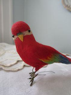 SOLD, Vintage Spun Cotton Tropical Bird -4