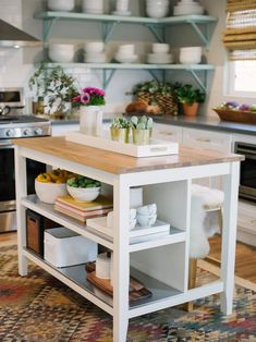 Modern boho kitchen vibes The Effective Pictures We Offer You About kitchen island Rustic Kitchen Island, Kitchen Island With Seating, Boho Kitchen, Home Decor Kitchen, Kitchen Interior, Home Kitchens, Kitchen Islands, Butcher Block Kitchen Cart, Butcher Block Island