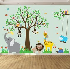 This Swirl tree vinyl wall decal, goes great in any nursery or children room. It is a easy and adorable way to decorate a bedroom { Decal Kit Includes } Tree:1 Branch:1 Giraffe:1 Lion:1 Birds:8 Elephant:1 Owls:4 Butterflies:3 Monkeys:2 Hippo:1 Turtles:2 Swing:2 Flowers:8 Grass:4 Monogram:1 =================================================== Every decal set includes: Transfer Paper Installation Instructions =================================================== ++Color Changes+...