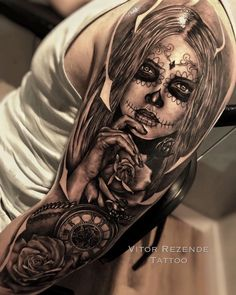 Sleeve Tattoos for Women Best Tattoo Sleeve Ideas For Women Fantastic Half and Full Sleeve Tattoos for Women images Ideas Designs for Girls 2019 2020 Sugar Skull Mädchen, Sugar Skull Girl Tattoo, Girl Face Tattoo, Girl Tattoos, Sugar Skull Sleeve, Girls With Sleeve Tattoos, Arm Sleeve Tattoos, Tattoo Sleeve Designs, Arm Tattoo