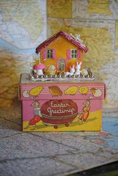 Vintage Easter cottageVintage Spring Putz House & by ee333 on Etsy, $40.00
