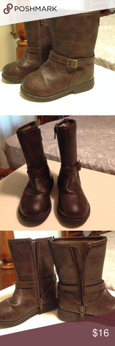 CARTER's Brown Faux Leather Buckle Toddler Boots Adorable tall faux leather buckle boots that zip up and have a great cushion throughout the inside of boots!! Soles look great! Carter's Shoes Boots