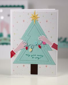 Merry Tree Card by Lexi Daly for Papertrey Ink (December 2014)