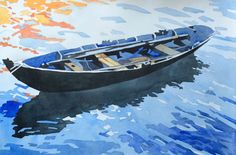 Blå Eka  sold Art Portfolio, Watercolor Paintings, Boat, Fine Art, Dinghy, Water Colors, Boats, Watercolor Painting, Visual Arts