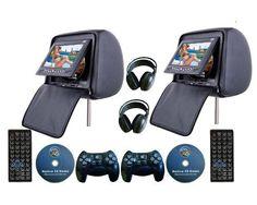 Headrest DVD Player with ISDB-T Wireless Headphone Zipper - Pair