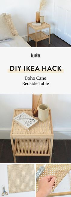 Cane webbing is reasonably priced and easier to source than ever, so giving your furniture a boho makeover is easier than you might think. With a few simple tweaks, we've taken an plain bedside table from basic to beautiful. Cane Furniture, Diy Furniture Projects, Furniture Makeover, Diy Interior, Upcycled Furniture Before And After, Diy Regal, Home Decor Inspiration, Decor Ideas, Decoration
