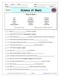 Bill Nye - Science of Music – Worksheet, Answer Sheet, and