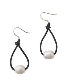 Adorable leather hoop earrings with pearls. These earrings co-ordinate with our leather bracelet and necklace!