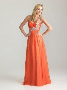elegant one shoulder ruched empire waist chiffon orange prom dresses long style 6679