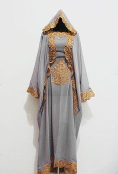 Moroccan Hoodie Kaftan Gray Chiffon Fancy FULL Gold Embroidery Dubai Abaya Maxi Dress farasha Hijab Kaftan Style Jalabiya - For Women on Etsy, $77.00