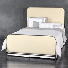 Baldwin Iron & Upholstered Bed by Wesley Allen - Aged Rust Finish with Hex Appeal Ivory Upholstery