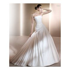Satini Strapless Asymmetrical Rouched Bodice with Mermaid Style in Exquisite Beaded Cut Waistline in Chapel Train and Zipper Closuer New Hot Sell Simple Wedding Dress WD84