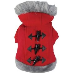Dogit Style Dog Hoodie Sweater with Faux Fur Trimmed Hood, Small, Red