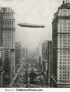 Vintage photo of the Zeppelin passing over Downtown Detroit, MI.