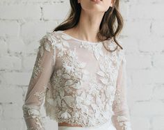 Lace Top Wedding Top Bridal Lace Top Ivory Top by JurgitaBridal