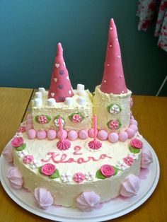 Princess castle cake. My little girl's 2nd birthday cake. Baked and decorated by her mommy (me!)