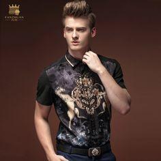 Aliexpress.com: Comprar FanZhuan envío de la Nueva manera de los hombres ocasionales masculinos de manga corta camisa 15315 blusa de verano impreso floral delgado enarboló el collar de floral shirt fiable proveedores en jackcheng store