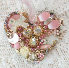 Pink Heart Vintage Jewelry Embellished Ornament by glassbeadtreasures, via Flickr