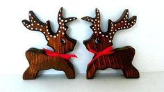 Pair of Vintage Solid Wood Reindeer with Red Bows
