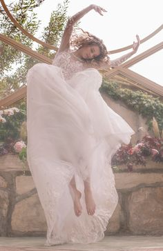 Bespoke, couture wedding gown, hand-embroidered with an array of wildflowers, featuring long sleeves and open back. Couture Wedding Gowns, Couture Dresses, Bridal Dresses, Traditional Gowns, Traditional Wedding Dresses, Embellished Gown, Everyday Dresses, Wedding Styles, Ball Gowns