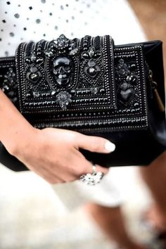 black Alexander McQueen clutch - love the skull! #skull #clutch #beaded