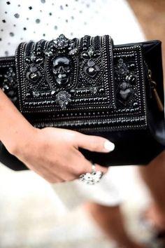 black Alexander McQueen clutch - love the skull! #skull #clutch #beaded