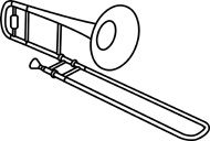 trombone free clip art | Free Black and White Music Outline Clipart - Clip Art Pictures ...