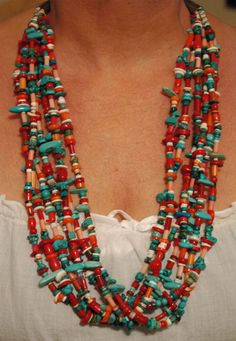 Huge Vintage Santo Domingo Pueblo Coral and by navajodreams, $980.00