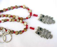 Owl Curtain Tiebacks Red Crystal Owl Tie by EarthlieTreasures, $30.95