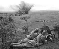 Soviet soldiers of the 20th Army, Western Front (army group) with a Maxim machine gun Near Dorogobuzh, Dorogobuzhsky District, Smolensk, 1 September 1941. By August the 20th Army was decimated by the German advance then later destroyed in the Vyazma Pocket. The 20th Army would be reformed in November 1941 and continue service until April 1944.
