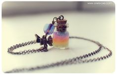 Cute Lace with Rainbow glass Bottle pendant with por 13thPsyche