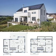 Build a modern house with a granny flat on a hillside, modern single-family house with garage - - Bungalow House Plans, New House Plans, Small House Plans, House Floor Plans, Architecture Plan, Amazing Architecture, Prefabricated Houses, House Blueprints, Tiny House Design