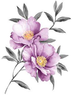 Purple peony watercolor vector