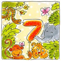 Kaart - Zeven Jaar - Greetz Happy Birthday Kids, Happy Birthday Quotes, Happy Quotes, Blond Amsterdam, Birthday Cards, Clip Art, Numbers, Gifts, Decor
