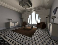Maquette d'un salon cubiste: la fenêtre est une copie de celles du Hoover building (Londres).