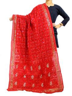 Phulkari Dupatta on Chanderi Fabric -Red