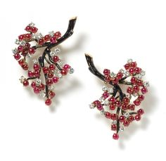CHERRIES - A pair of platinum mounted gem-set brooches by Boucheron, in the form of cascading cherry blossom, the stems enamelled black bearing brilliant-cut diamond and cabochon ruby-set flowers. Art Deco Jewelry, High Jewelry, Jewelry Design, Boucheron Jewelry, Antique Jewelry, Vintage Jewelry, Antique Earrings, Art Nouveau, Jewelry Collection