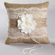 Rustic Garden Burlap Ring Pillow